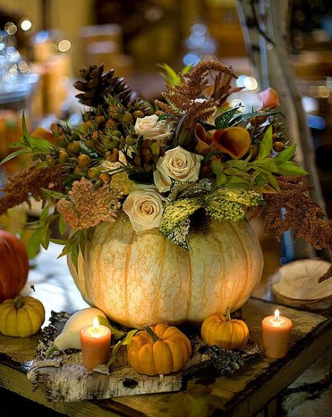 screenshot Thanksgiving pumpkin centerpiece